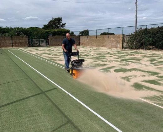 Refurbished tennis court service in Sussex